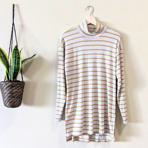 Anthropologie Metallic Mustard Stripe Tunic Top